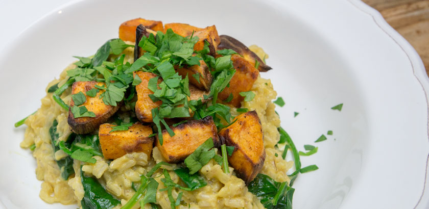 rezept, sweet potatoe, spinat, risotto mit braunem Reis, Kokos und Süßkartoffeln