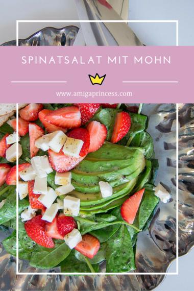 Spinatsalat mit Erdbeeren, Avocado und Mohndressing, #poppyseed #dressing #salad #recipe #rezept #mohn #strawberry #spinach #food #delicious #summer #leichteküche #salat #amigaprincess
