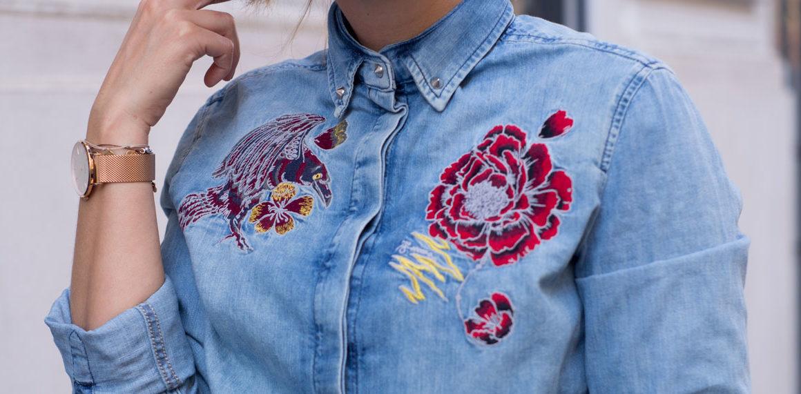 Besticktes Jeanshemd mit Shorts und Schnürsandalen #outfit #ootd #look #style #inspiration #summer #denim #trend #diesel #prefalll