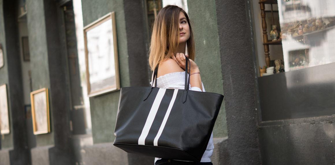 #ootw: Off-Shoulder Leinenbluse, pure linen, leinen, shopper, black and white, streetstyle, outfit inspo, off shoulder, denim, pantoletten, style, inspiration, amigaprincess, s.oliver