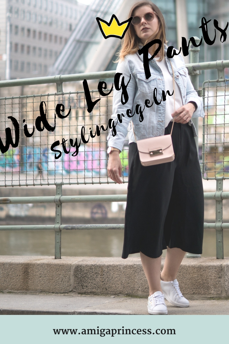 One Trend -Different Styles: Wide Leg Pants, weites hosenbein, ausgestellte hose, culotte, stylingregeln, stylings tipps, inspo , outfit, streetstyle, jeansjacke, furla metropolis, how to style, weite hose kombinieren, amigaprincess, fashionblogger