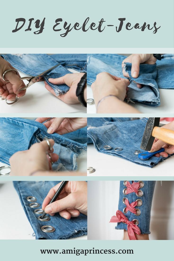 DIY: Jeans mit Metallösen und Schleife 8