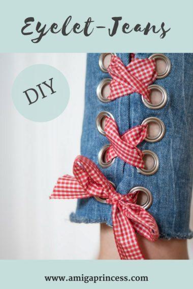 DIY: Jeans mit Metallösen und Schleife 20