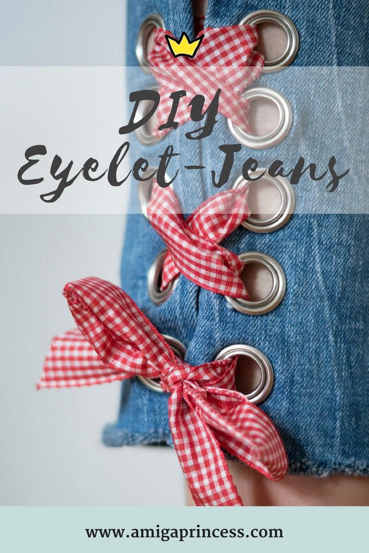 DIY: Jeans mit Metallösen und Schleife 4
