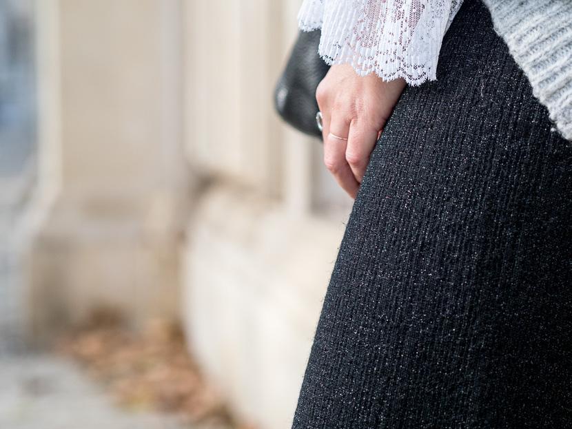 #ootw: glitzernde Wide Leg Pants mit Oversize Pullover 2