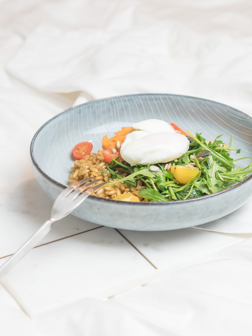 Lunchbowl mit Süßkartoffelpüree und Lemon-Dressing 7