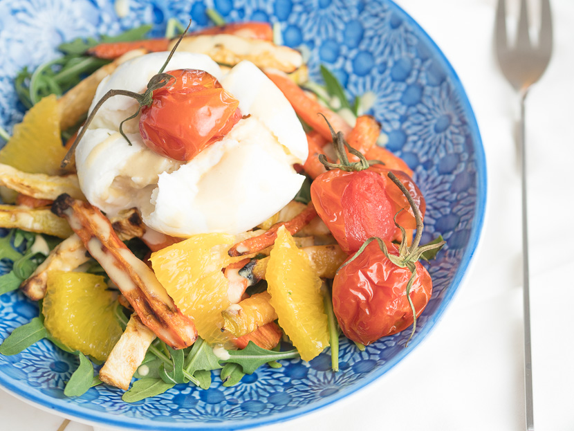 Wurzelgemüse mit Burrata und Orangen-Dressing 6