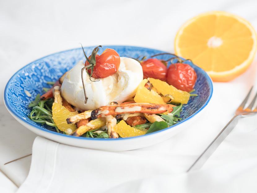 Wurzelgemüse mit Burrata und Orangen-Dressing 1