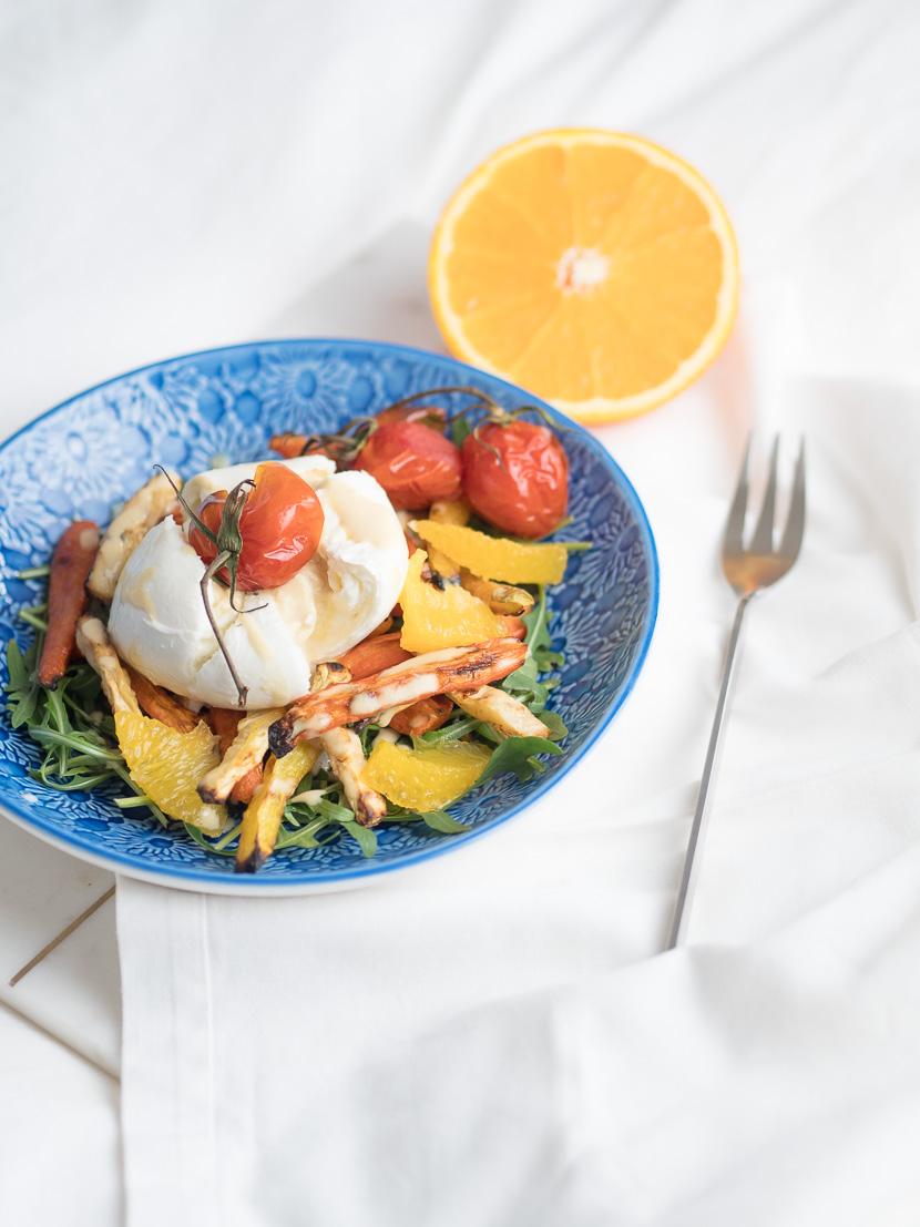 Wurzelgemüse mit Burrata und Orangen-Dressing 5