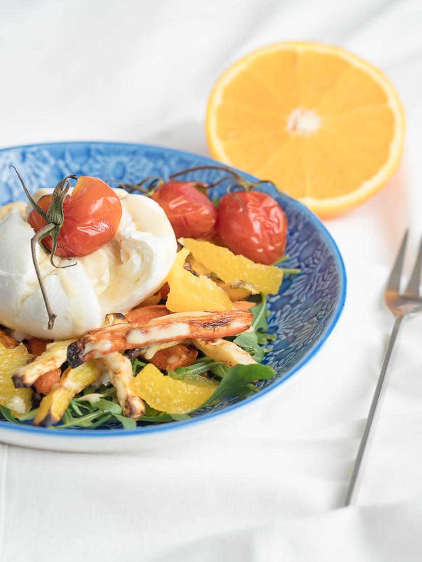 Wurzelgemüse mit Burrata und Orangen-Dressing 9