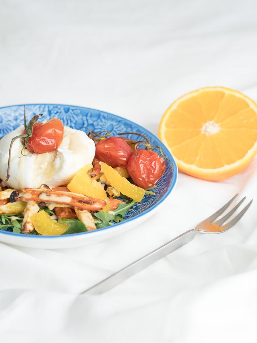 Wurzelgemüse mit Burrata und Orangen-Dressing 2