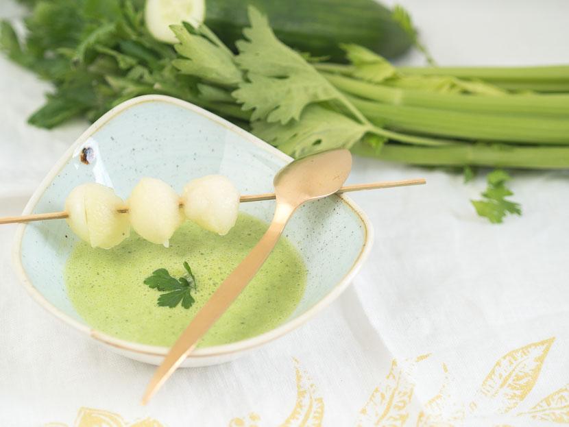 Kalte Melonen-Gurken Suppe mit Buttermilch 3