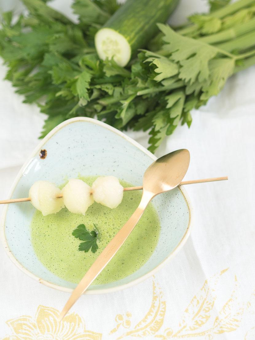 Kalte Melonen-Gurken Suppe mit Buttermilch 4