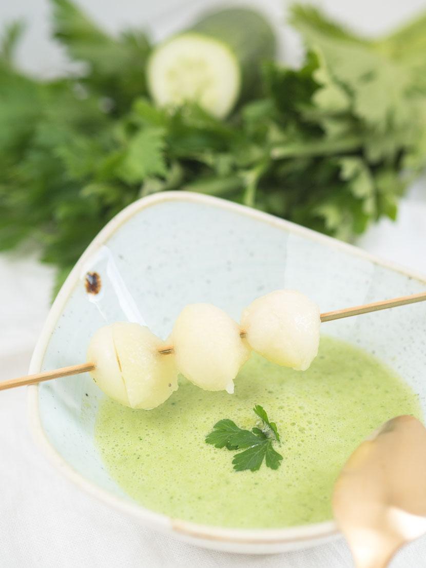 Kalte Melonen-Gurken Suppe mit Buttermilch 6