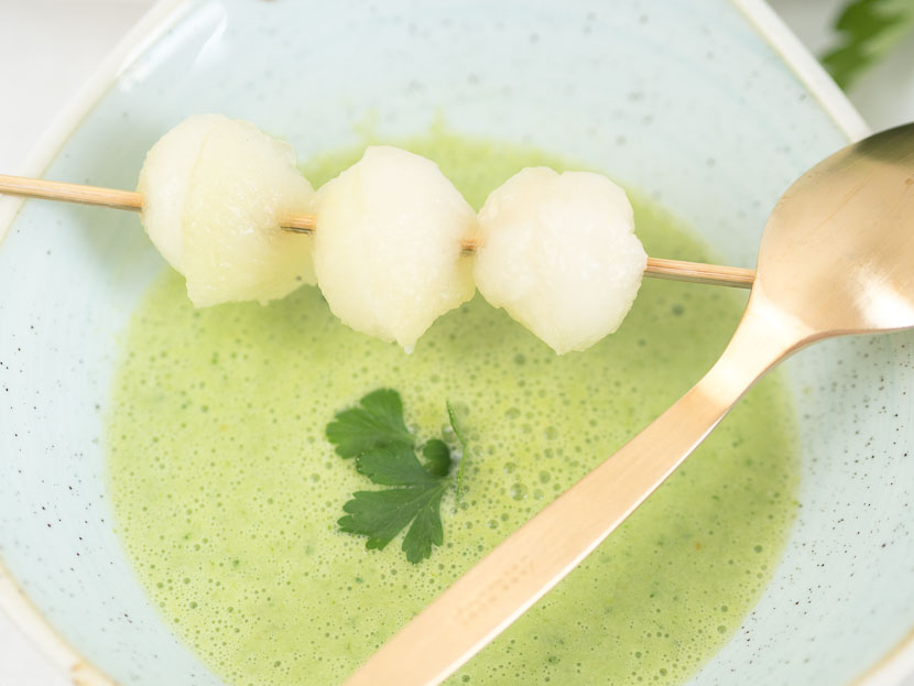Kalte Melonen-Gurken Suppe mit Buttermilch 7