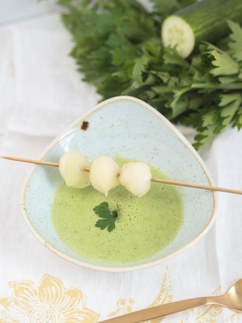 Kalte Melonen-Gurken Suppe mit Buttermilch 2