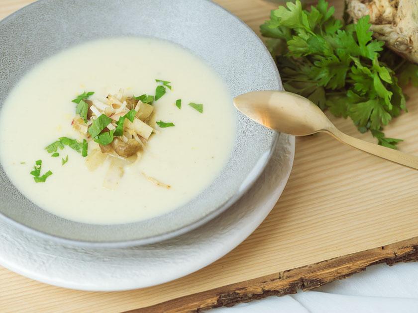 Cremige Selleriesuppe mit Maroni und Zitrone 2
