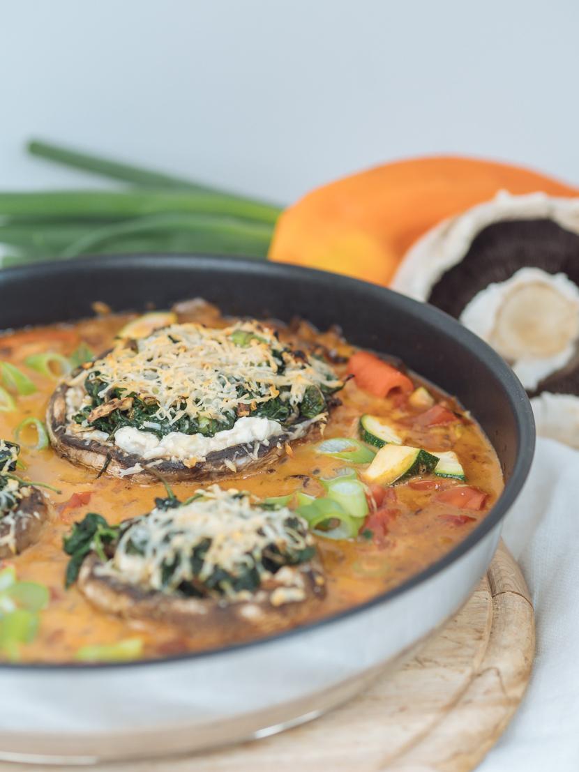 Vegetarisch gefüllte Portobello Pilze mit Spinat 6