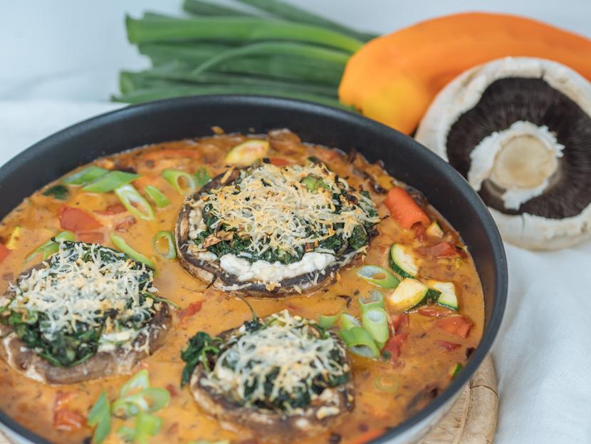 Vegetarisch gefüllte Portobello Pilze mit Spinat 5
