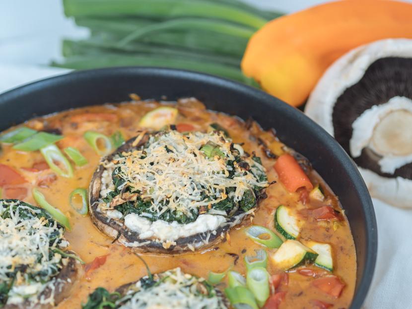 Vegetarisch gefüllte Portobello Pilze mit Spinat 1