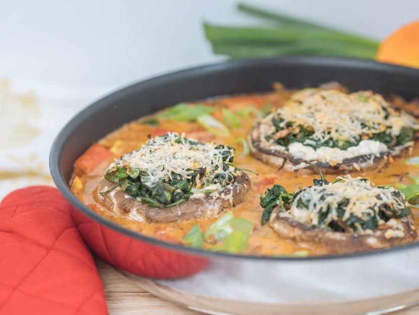Vegetarisch gefüllte Portobello Pilze mit Spinat 3